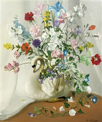 still life with summer flowers in a swan-shaped vase by anna katrina zinkeisen