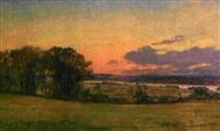 fredensborg, paysage au soleil couchant by hans jörgen hammer