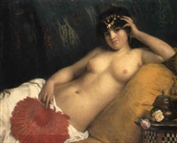 an odalisque with a red fan by giuseppe costa