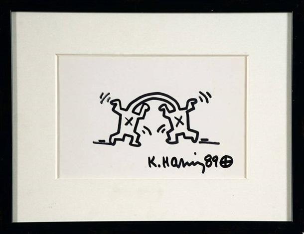 deux personnages faisant des bonds by keith haring
