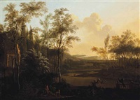 a wooded river landscape with a huntsman at rest beside classical ruins by frederick de moucheron