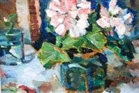 floral still life in green glazed hexagonal vase by bessie ellen davidson