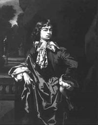 portrait of a gentleman, standing three quarter length, wearing brown coat by johann sterenberg