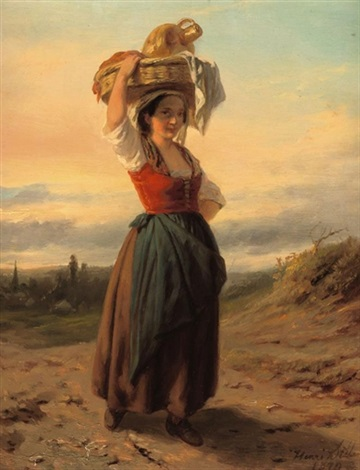 italian beauty in a summer landscape by hendrick joseph dillens