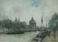 canal scene with barges by james little