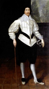 standing portrait of a cavalier by gilbert jackson