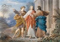 biblische szene, christus zwischen zwei jüngern by wilhelm ernst ferdinand hauschild