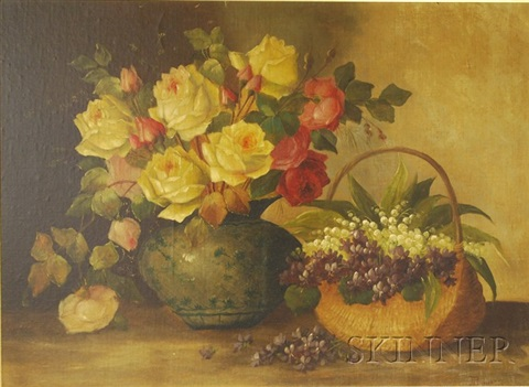 still life with roses and lily of the valley by josef planer