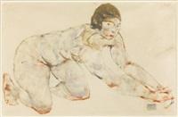 kniender weiblicher akt (crouching female nude) by egon schiele