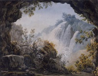 a couple seated in the foreground of a boulder strewn landscape with a cascading waterfall by simone pomardi