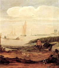 river landscape with fishermen and boats and a young boy seated with fishing nets by arent (cabel) arentsz