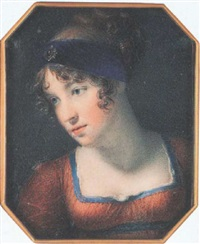 a lady wearing rust-coloured dress with blue trim, matching waistband and white underslip, her hair upswept and dressed with a bejewelled blue bandeau by george lethbridge saunders