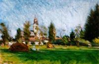 nagybányai táj árnyas réttel (landscape in nagybánya with a shadowy field) by andrás mikola
