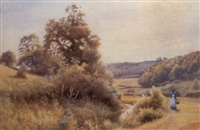 the path by the stream - a summer landscape by james alfred aitken