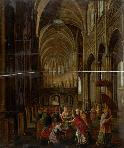 figures within a cathedral interior by peeter neeffs the elder