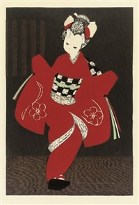 ladies dancing with fans (+ 7 others; 8 works) by kaoru kawano