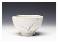 a tea bowl with a crane decoration by arakawa toyozo