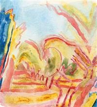 landscape ii (+ field of sunflowers; 2 works) by norman adams