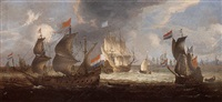 dutch men-of-war and other shipping off amsterdam by abraham de verwer