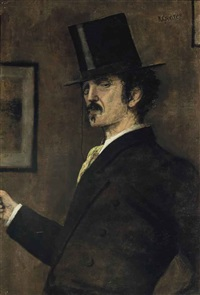 portrait of whistler, half-length, with monocle and top hat by walter greaves