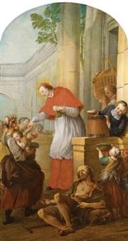 saint charles borromée donnant l'aumône aux pestiférés by pierre louis dumesnil