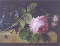 roses, a pansy, forget-me-nots in a glass vase and a fly on a marble ledge by e. agathe pilon