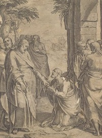 christ giving the keys of the church to st peter by cornelis cort