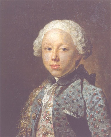 portrait of a young nobleman wearing a gold embroidered light grey waistcoat with dark grey jacket by jacques andré joseph aved