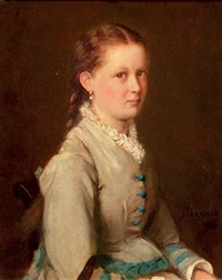 portrait of a girl in a blue and white dress by jacob taanmann