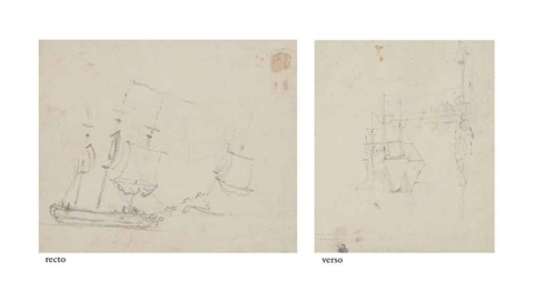 shipping on the thames or medway recto two views of shipping on the thames or medway verso 2 works by john constable