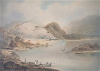 figures boarding a small ferry in a highland lake landscape by william anderson