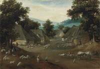 the month of july: a village landscape with a horse-drawn wagon, peasants and sheep by jacob grimmer