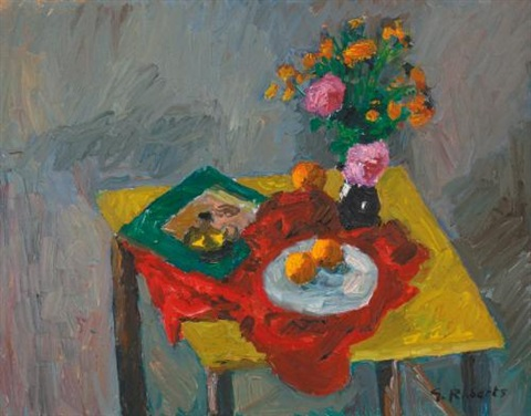 yellow table and flowers by william goodridge roberts