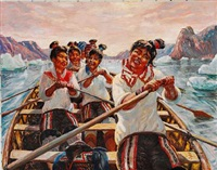 An Umiak With Smiling Young Inuits Rowing In A