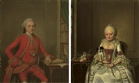 portrait of gentleman in a red costume and wig (+ portrait of a lady in a white satin dress; pair) by jan maurits quinkhardt