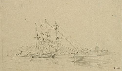 driemaster in de haven trois mâts dans le port by johan barthold jongkind