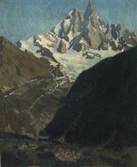 an alpine landscape with a village by clément (joseph charles louis) sénèque
