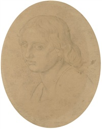 head of a young woman, bust-length, in profile to the left by bonaventura genelli