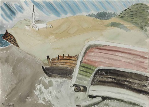 beached boats by milton avery