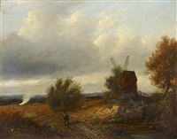 figure on a country path, a windmill nearby by patrick nasmyth