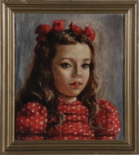 portrait of a young girl in a polka dot dress by robert henri