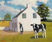calf at a cottage, katesbridge, county down by norman smyth
