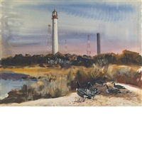 geese and lighthouse by andrew winter