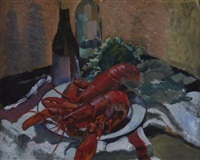 still life of lobster by george wright hall