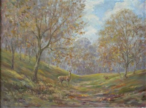 roe buck roe deer in dorset 2 works by william ellis barrington browne