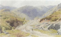 shepherd and flock on a path, coniston by charles davidson