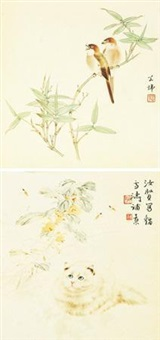 花鸟双挖 (2 works on 1 scroll) by various chinese artists