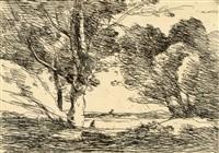 tour à l'horizon d'un lac cliché-verre by jean-baptiste-camille corot