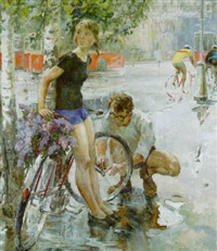 fixing the bicycle wheel by viktor aleksandrovich tsvetkov