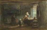familie in een interieur by jozef israëls